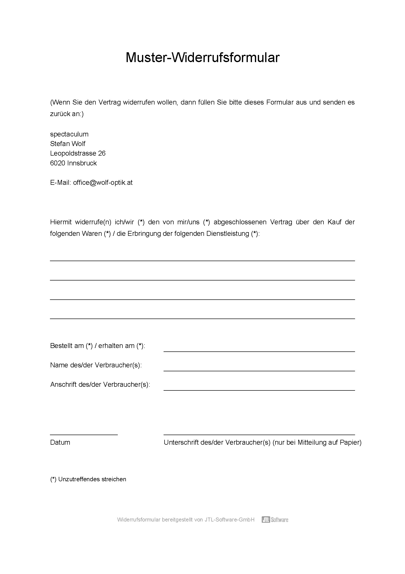 widerruf muster email